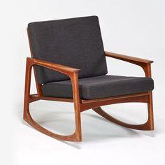 """Danish Rocking Chair, Sculpted Teak, Upholstery, Braded """"JK Made in Denmark"""" #ModernDesign"""