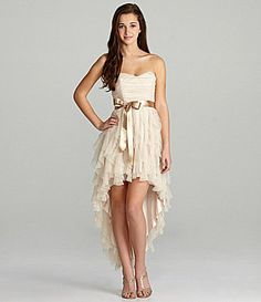Teeze Me Strapless Corkscrew Ruffle HiLow Dress #Dillards. This will be my 8th grade graduation dress!!!