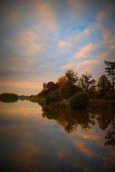 Trentham Gardens lake at sunset, Stoke-on-Trent, England