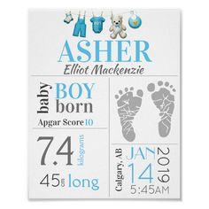 Hang this personalized Nursery Keepsake on your baby's wall. This blue baby boy birth stat sign has all his birth information including date, time of birth, weight and place of birth. There's even a place where you can add his footprint. Add his hospital recorded apgar score which he received shortly after birth. Your baby's birth announcement sign will be cherished throughout the years as he gets older. Create your new baby's birth stat sign or make one for a friend or family member. Great… Baby Boys, Baby Boy Art, Baby Boy Newborn, Twin Boys, Baby Boy Birth Announcement, Birth Announcements, Birth Records, Baby Footprints, Baby Birth