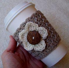 coffee sleeve , flower , brown , white , crochet , crocheted , yarn