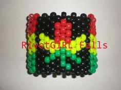 Rasta Cannabis Leaf bracelet cuff - Kandi
