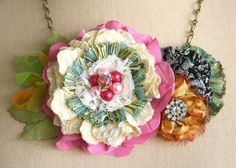 Colorful Spring Flower Statement Necklace in Pink, Mango and Yellow. via Etsy.