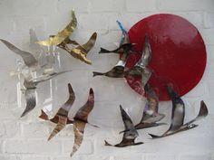 Zugvögel mit Sonne , Edelstahl gebläut, Edelmetalle ca. 60x90 cm auf Poly-Wolke, einzigartig von art-lomo.de