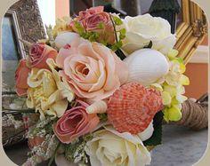 Beach Wedding Bouquet with Sea Shells, Beach Roses, Nautical Wedding, Beach Wedding