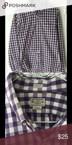 J. Crew Button Down Shirt J. Crew Slim Fit Button Down Shirt. Size is men's small. Looks brand new. Color is purple and white. Pet free smoke free home. Next day shipping. J. Crew Shirts Casual Button Down Shirts