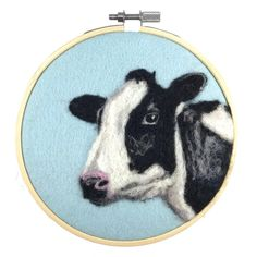 Farmhouse style cow wool painting. Original fiber art that's perfect for a kitchen