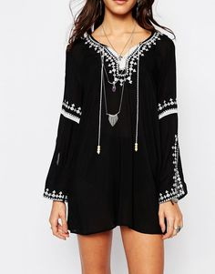 Image 3 of Lira Festival Caftan Dress With Embroidery Lace Up Detail