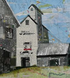 grain elevator by Susan Schenk Newspaper Collage, Paper Collage Art, Collage Art Mixed Media, Collage Artists, Mixed Media Canvas, Collage Artwork, Collage Landscape, Landscape Quilts, Magazine Collage