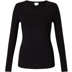 East Long Sleeve Jersey Top , Black ($35) ❤ liked on Polyvore featuring tops, black, round neck top, stretchy tops, stretch top, long sleeve tops and patterned tops
