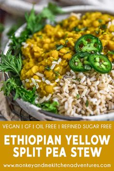 2 hours · Vegetarian · Serves 4 · Raise your hand if you love Ethiopian food! We've got both hands enthusiastically stretched to the sky! Creamy, cozy, and bursting with flavor, this Ethiopian Yellow Split Pea Stew (Kik Alicha) is… Pea Recipes, Veggie Recipes, Soup Recipes, Whole Food Recipes, Vegetarian Recipes, Cooking Recipes, Healthy Recipes, Vegan Soups, Recipies
