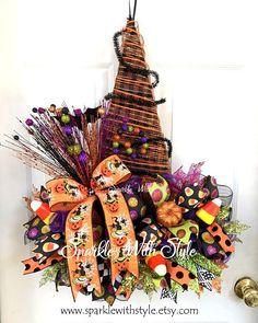 Witch Hat Deco Mesh Wreath Halloween Wreath Halloween