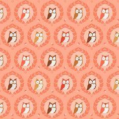 """Michael Miller fabric """"Les Amis"""" Sweet Owlies Peach"""