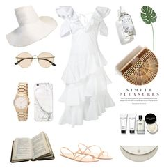 """""""Unbenannt #1109"""" by fashionlandscape ❤ liked on Polyvore featuring Daizy Shely, Herbivore, The Row, Gucci, Yestadt Millinery, russell+hazel, Bobbi Brown Cosmetics and Maison Margiela"""