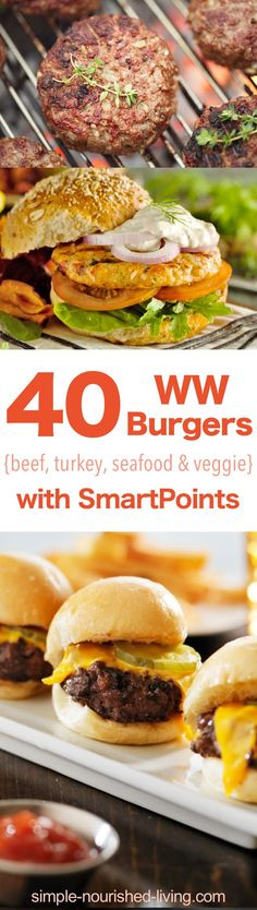 A collection of 40 healthy, flavorful Weight Watchers Burger Recipes, both meat and meatless, to tempt your tastebuds - all with SmartPoints! #simplenourishedliving #weightwatchers #wwfamily #ww #easyhealthyrecipes #beyondthescale #becauseitworks #smartpoints