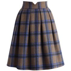 Chicwish Eternal Classic Plaids Woolen Midi Skirt in Brown ($45) ❤ liked on Polyvore featuring skirts, brown, midi skirt, brown wool skirt, wool skirt, brown skirt and plaid pleated skirt