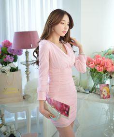 Pink Chiffon Banded V Neck Designer Dress - Morpheus Boutique