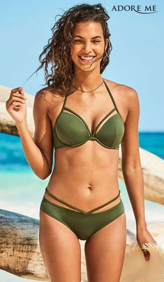 Get the support you're used to without losing style in Kanoa. In our olive green this strappy set is a no brainer. Contour cups in your bra size means you'll be ready to hit the waves this summer.