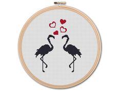 Flamingos in Love  Counted Cross stitch Pattern by KHANNAandILAN