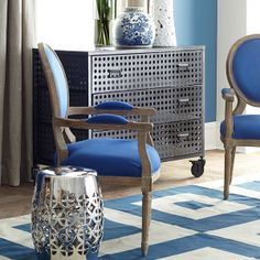 Wisteria - Furniture - Shop by Category - Poufs & Stools -  Geometric Garden Stool - Silver - $149.00