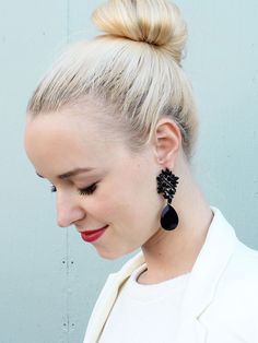 This whimsical and mysterious chandelier earring is the perfect dark jewelry for Fall. Black is a staple, so why not make that statement earring a piece that wi