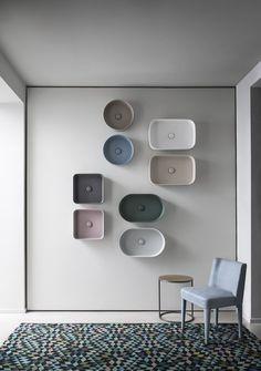 Shui Comfort washbasins by CIELO - Le terre di Cielo colours - Cielo showroom in Milan via Pontaccio 6 #washbasin #ceramic #colour #shui #leterredicielo #design #bathroom #homeinterior #showroom #milan #viapontaccio6 #handmade #madeinitaly