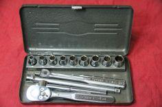 "Vintage CRAFTSMAN Tools 1/4"" Socket Wrench Set 15 Pieces in Metal Box =V="