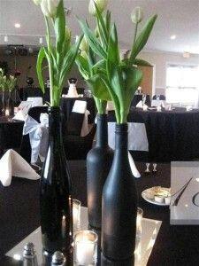 Have old wine or liquor bottles?  Reuse for wedding decor :-)
