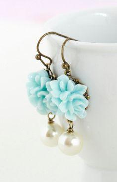 Flower Earrings Pale Blue Bridal