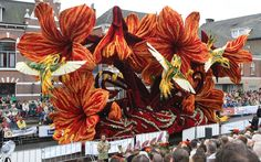 Huge floats covered in flowers at the Bloemencorso Zundert floral parade