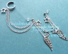 Star Angel Wing Dangle Ear Cuff Set by Jujubeads4 on Etsy, $9.99