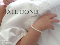 Here's another way to repurpose your wedding dress: make a bracelet with the beads for your daughter!