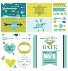 Save the date. Love heart and arrows party set - for party vector - by woodhouse84 on VectorStock®