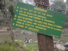 """WARNING... Beware of crocodile""  [Warning sign at Mudumalai National Park, Moyer River, Theppakadu, before bridge.]~[Photo by marcus334 (Marcus Sherman) - February 5 2008]'h4d'120918"
