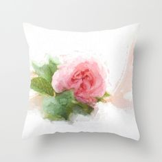 Painting Rose Still-life Throw Pillow