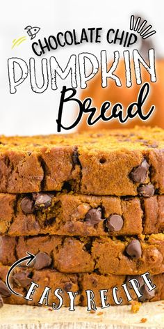 This Chocolate Chip Pumpkin Bread recipe only has five easy steps. The moist, homemade bread is the perfect thing to bake in your kitchen this fall. It will make the house smell amazing with the spicy pumpkin flavors and satisfy the sweet tooth with its melted chocolate chips. Apple Cinnamon Bread, Pumpkin Chocolate Chip Bread, Melting Chocolate Chips, Melted Chocolate, Pumpkin Bread, Best Pumpkin Pie, No Bake Pumpkin Pie, Baked Pumpkin, Pumpkin Spice