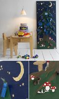 """In Denmark we have a tradition for making christmas calendar for our kids. This one I made for the danish kids magazine """"vi forældre"""" some years ago. with 11 days to the first of december - you still have time make your own. The calendar is made out of mdf board, painted, and applied gold leaf for the moon and stars. Small hooks makes it possible to hang the gifts. (pic:Sofie Helsted)"""