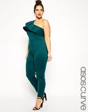 ASOS CURVE Jumpsuit In Scuba With One Shoulder