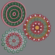Quilled Christmas Ornaments or Gift Decorations, Red Green Gold White