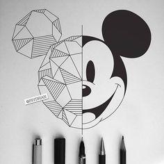 Disney Art Geometric Mickey Mouse - - Beste Pins - all - Z Mesh, A Mickey Mouse Drawings, Disney Drawings, Cartoon Drawings, Mickey Mouse Art, Mickey Drawing, Mickey Mouse Sketch, Drawing Disney, Cool Art Drawings, Pencil Art Drawings