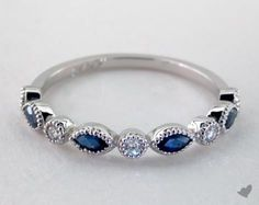 14K White Gold Blue Sapphire Marquise and Round Diamond Ring