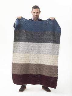 simple large striped blanket in 6 colors - Lion Brand WoolEase Thick & Quick