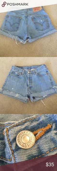 Levi's High Waisted Shorts vintage shorts, fit like a 25, light wash, super cute I just never got around to wearing them, still unsure if I want to sell so feel free to make an offer! Levi's Shorts Jean Shorts