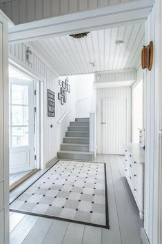 Over 200 square meters filled with romantic country style interiors. This beautiful home gets its look and atmosphere from the light white and grey tones Painted Wood Floors, Wooden Flooring, Estilo Interior, Halls, Small Space Interior Design, Entry Hallway, Country Style Homes, Scandinavian Home, White Houses