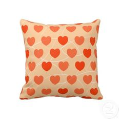 """Hearts pattern, double face pillow. Throw Pillow 20"""" x 20""""."""
