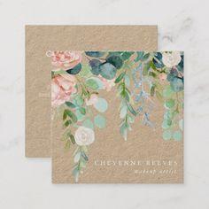 Unique Business Cards, Business Card Design, Watercolor Fl, Name Card Design, Flower Frame, Bloom, Illustration, Invitation, Invite