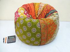 Handmade cotton kantha quilt's cut peice Floral Bean Bag