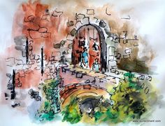 LAURA CLIMENT : CERRADO POR VACACIONES Urban Sketchers, Painting, Art, Drawings, Castles, Vacations, Watercolor Painting, Art Background, Painting Art