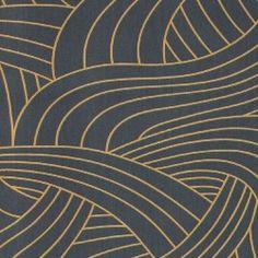 Sateng mørk blå m gull strekmønster