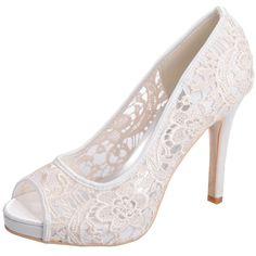 Zbeibei Women's Pageant Wedding Shoes Peep Toe Lace Stiletto High Heels Sandals(6041-01Lace37,mibai)